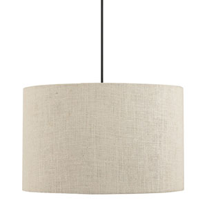 Dark Bronze One-Light Drum Pendant with Cream Fabric Shade