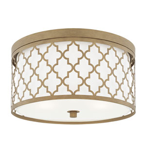 Ellis Brushed Gold Three-Light Flush Mount