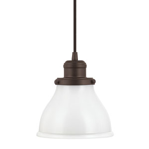 Baxter Burnished Bronze One-Light Mini-Pendant with Milk Glass