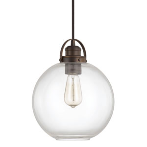 Burnished Bronze One-Light Pendant with Clear Glass