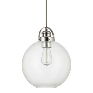 Polished Nickel One-Light Pendant with Clear Glass