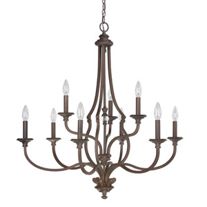 Leigh Burnished Bronze Nine-Light Chandelier