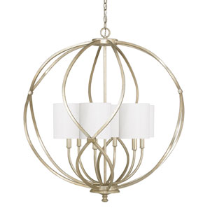 Bailey Winter Gold Six-Light Pendant with White Fabric Shades