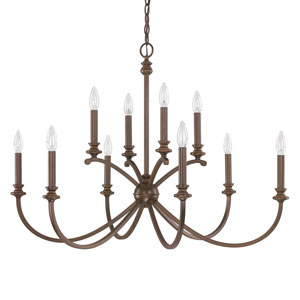 Alexander Burnished Bronze Ten-Light Thirty-Six-Inch Chandelier