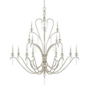 Celine Antique Silver Sixteen-Light Chandelier