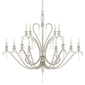 Celine Antique Silver Twelve-Light Chandelier