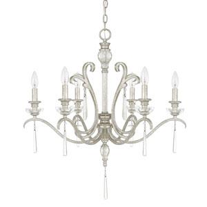 Celine Antique Silver Six-Light Chandelier