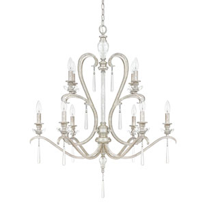 Celine Antique Silver Ten-Light Chandelier