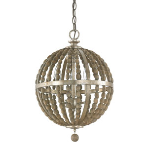 Lowell Tuscan Bronze with Wood Beads Three-Light Pendant