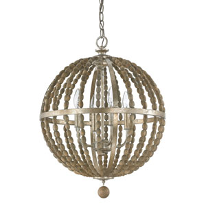 Lowell Tuscan Bronze with Wood Beads Four-Light Pendant