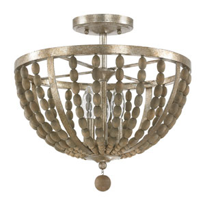 Lowell Tuscan Bronze with Wood Beads Three-Light Semi Flush