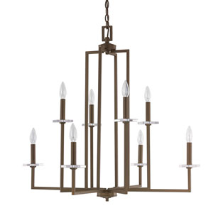 Morgan Burnished Bronze Eight-Light Thirty-Two-Inch Chandelier