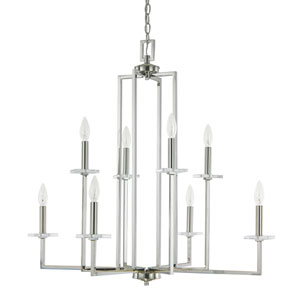 Morgan Polished Nickel Eight-Light Thirty-Two-Inch Chandelier