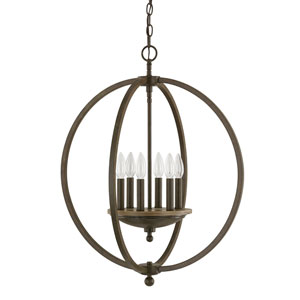 Perry Bronze and Oak Four-Light Pendant