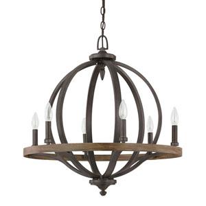 Brayden Iron and Oak Six-Light Pendant