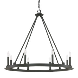 Pearson Black Iron Eight-Light Chandelier