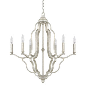 Blair Antique Silver Six-Light Chandelier