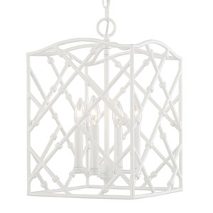 Foyers Glossy White Four-Light 12-Inch Wide Foyer