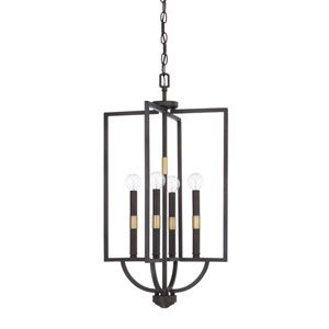 Cole Aged Brass and Old Bronze 15-Inch Four-Light Pendant