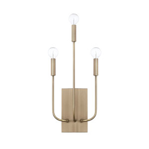 Zander Aged Brass Three-Light Sconce