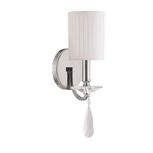 Alisa Polished Nickel One Light Sconce with Crystals and Shade
