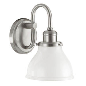 Baxter Brushed Nickel One-Light Wall Sconce with Milk Glass