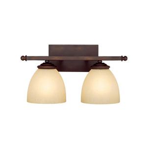 Chapman Burnished Bronze Two-Light Bath Fixture with Mist Scavo Glass
