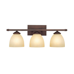 Chapman Burnished Bronze Three-Light Bath Fixture with Mist Scavo Glass