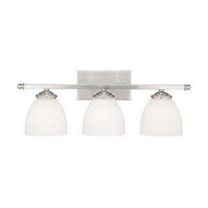 Chapman Matte Nickel Three-Light Bath Fixture with Soft White Glass