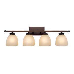 Chapman Burnished Bronze Four-Light Bath Fixture with Mist Scavo Glass