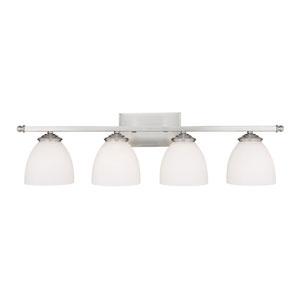 Chapman Matte Nickel Four-Light Bath Fixture with Soft White Glass