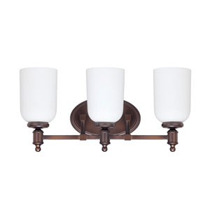 Covington Burnished Bronze Three-Light Vanity Fixture