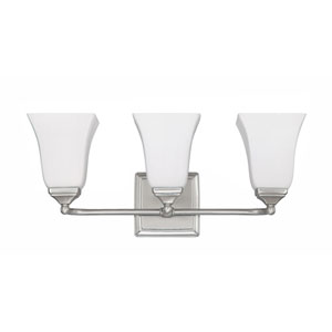 Brushed Nickel Three-Light Vanity Fixture