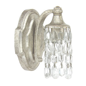 Blakely Antique Silver One-Light Sconce With Clear Crystals