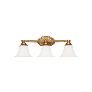 Blakely Antique Gold Three Light Vanity Fixture