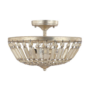 Fifth Avenue Winter Gold Three-Light Semi-Flush Fixture