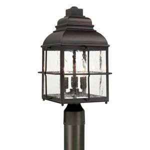 Lanier Old Bronze Three-Light Post Mount