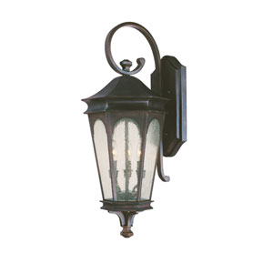 Inman Park Old Bronze Large Three-Light Outdoor Wall Light