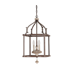 Chateau Large French Oak Three Light Foyer