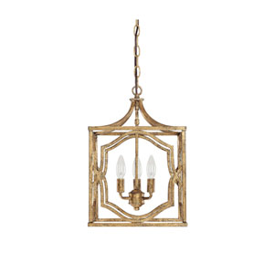Blakely Antique Gold Three Light Foyer- Antique Gold
