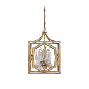 Blakely Antique Gold Three Light Foyer with Crystals