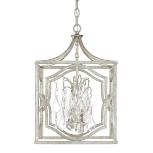Blakely Antique Silver Three-Light Pendant with Clear Crystals