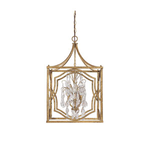 Blakely Antique Gold Four Light Foyer with Crystals