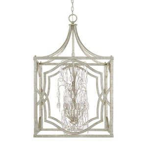 Blakely Antique Silver Six-Light Pendant with Clear Crystals