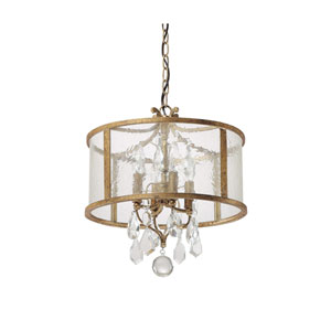 Blakely Antique Gold Four Light Pendant with Clear Crystals
