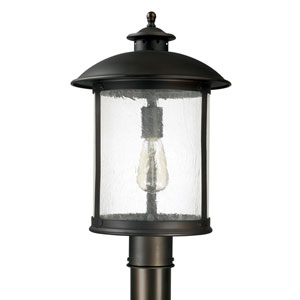 Dylan Old Bronze One-Light Outdoor Post Mount with Antique Glass