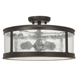 Dylan Old Bronze Three-Light Outdoor Semi-Flush with Antique Glass