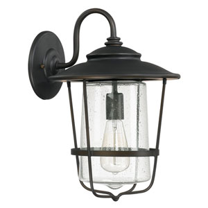 Creekside Old Bronze One-Light Outdoor Wall Lantern with Seeded Glass
