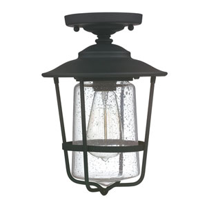 Creekside Black One-Light Semi-Flush Mount with Clear Seeded Glass