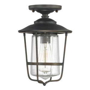 Creekside Old Bronze One-Light Outdoor Semi Flush Mount with Seeded Glass